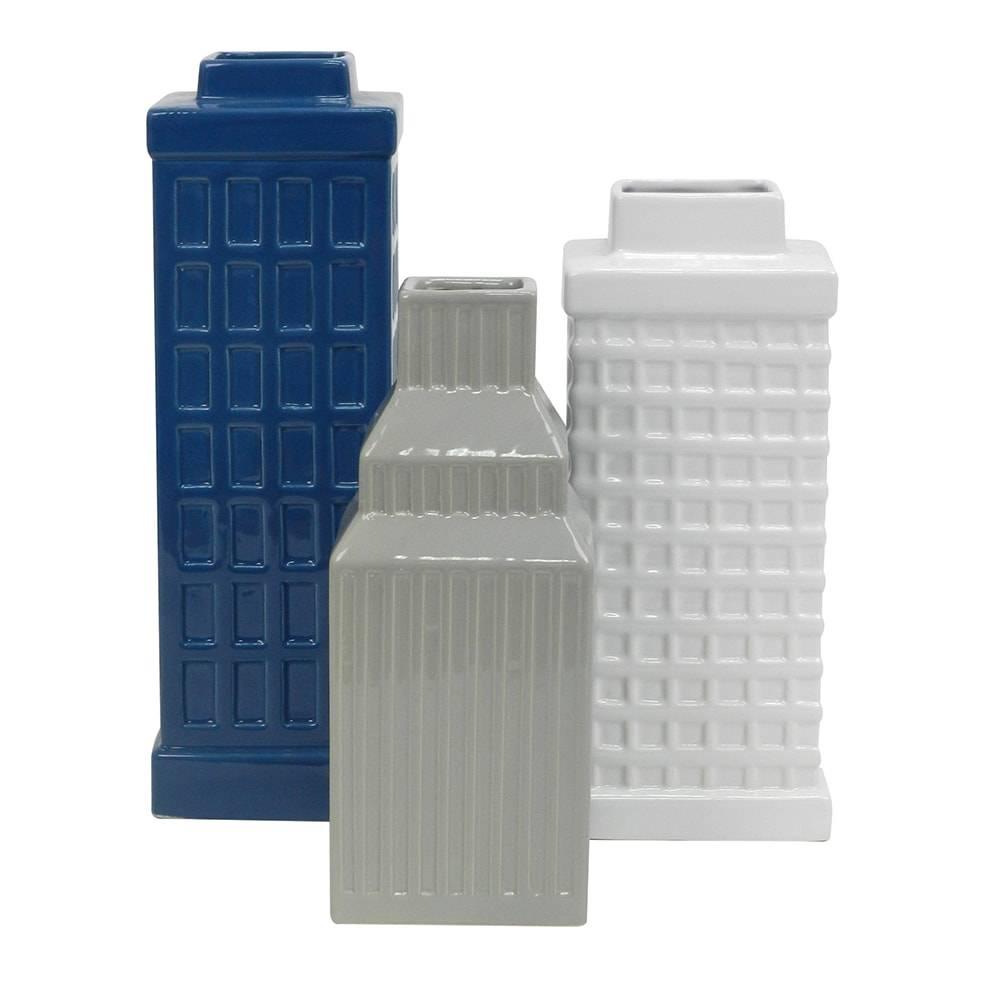 Conjunto de Vasos Building 3 Cores em Cerâmica - 30,5x10,5 cm