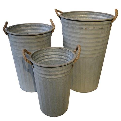 Conjunto de Vasos Frisados em Metal Greenway - 61x40 cm