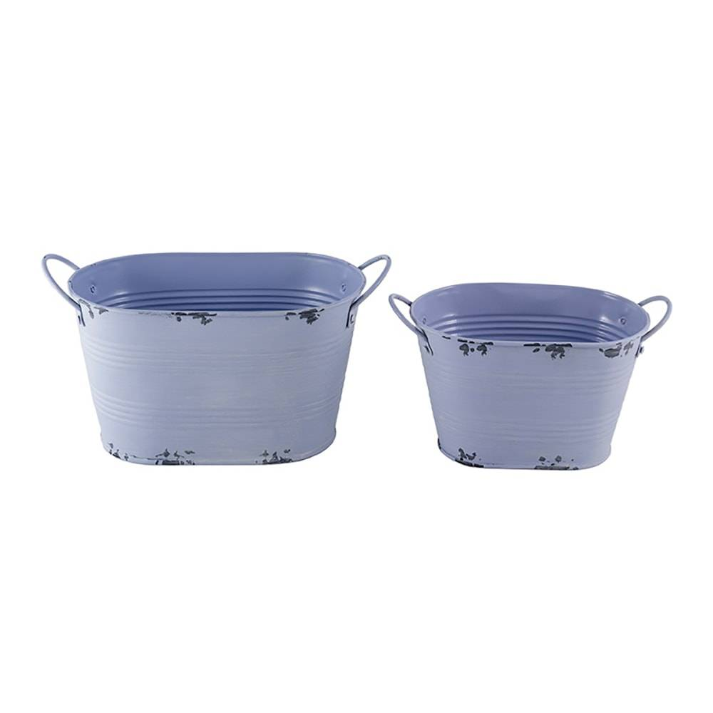 Conjunto de Vasos Garden Lilás - 2 Peças - em Metal - 23,5x13 cm