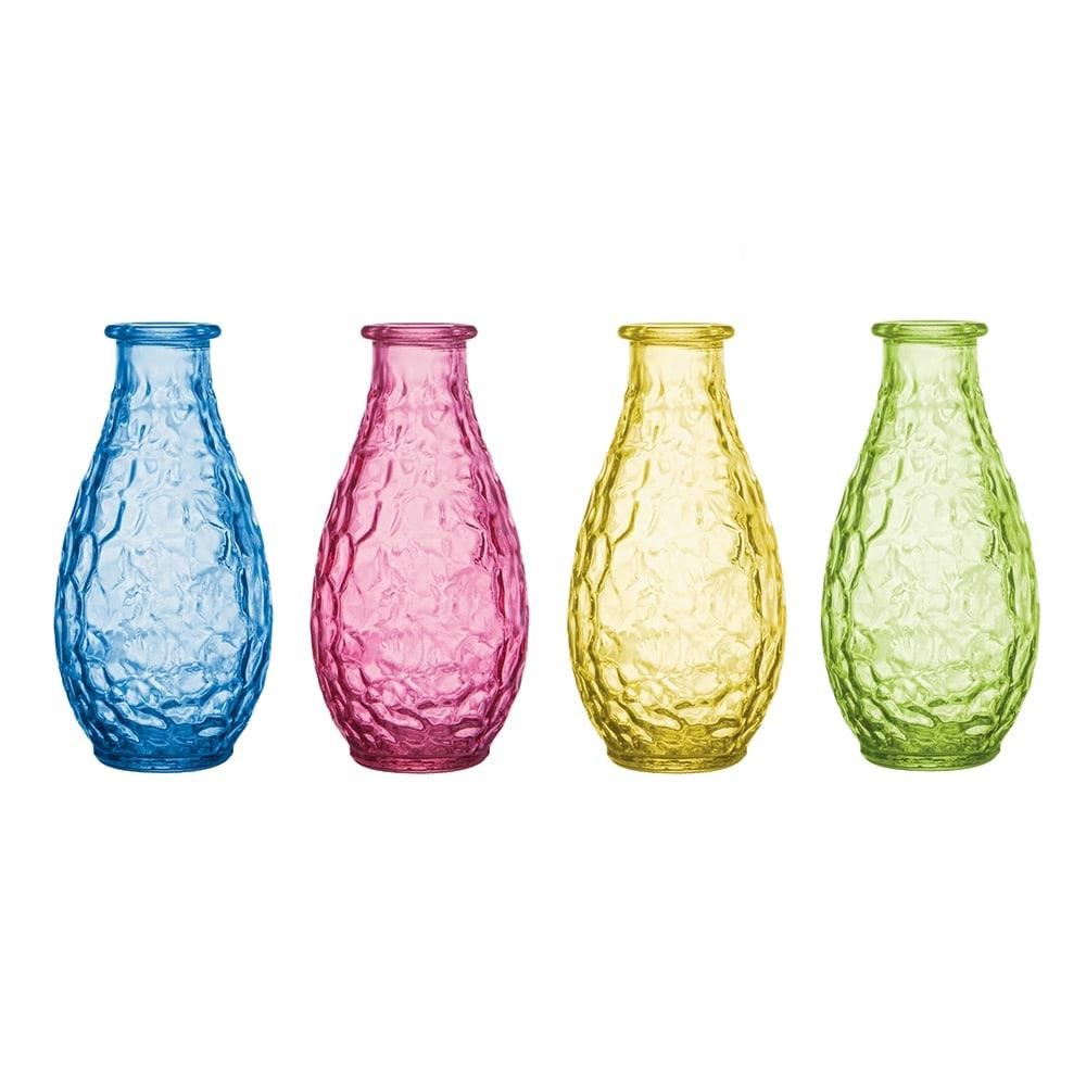 Conjunto Vasos Pop - 4 Peças - Coloridas com Efeito Martelado em Vidro - 14,5x7 cm