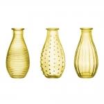 Conjunto de Vasos Rivena - 3 Peças - Amarelos em Vidro