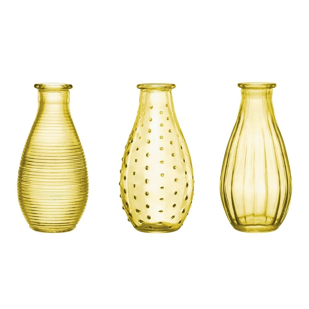 Conjunto de Vasos Rivena - 3 Peças - Amarelos em Vidro - 14,5x7 cm