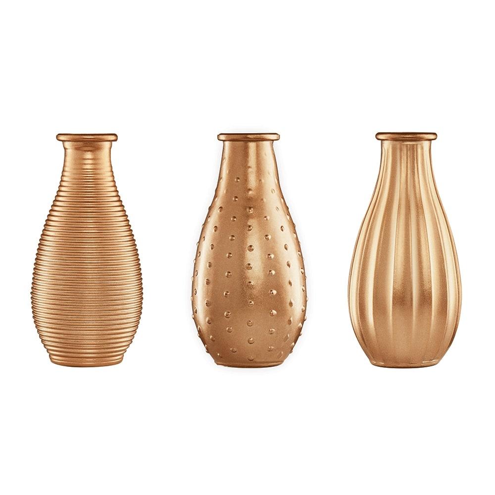 Conjunto de Vasos Rivena - 3 Peças - Dourados em Vidro - 14,5x7 cm