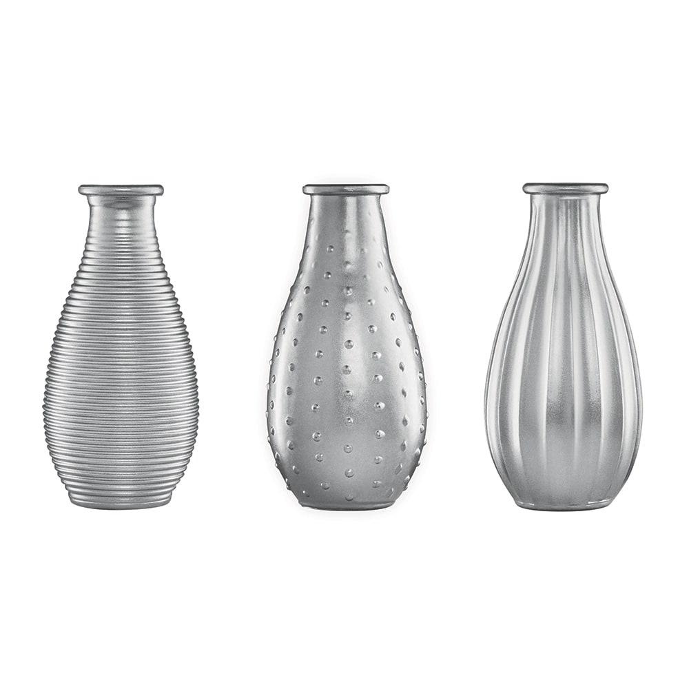 Conjunto de Vasos Rivena - 3 Peças - Prata em Vidro - 14,5x7 cm