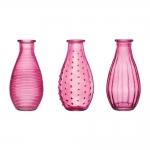 Conjunto de Vasos Rivena - 3 Peças - Rosa em Vidro