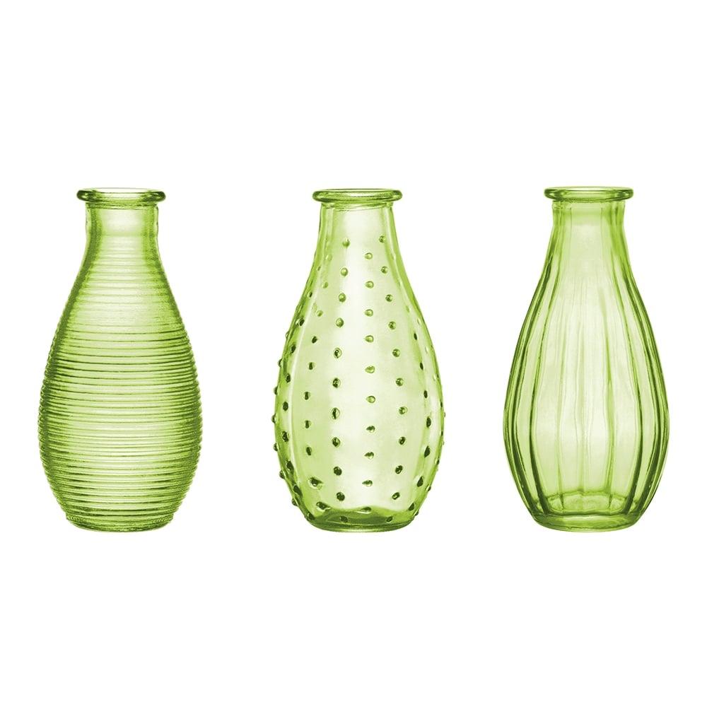 Conjunto de Vasos Rivena - 3 Peças - Verdes em Vidro - 14,5x7 cm