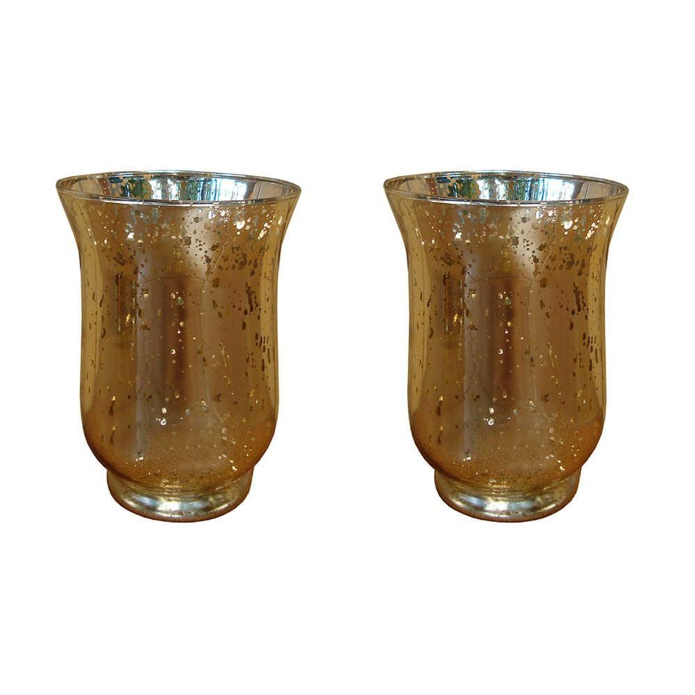Conjunto de Vasos Sino Dourado Grande em Vidro - 15x11 cm
