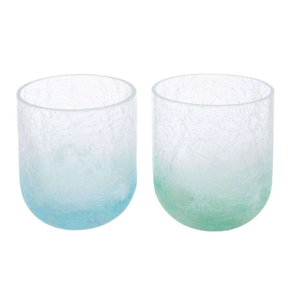 Conjunto de Vasos Verde/Azul em Vidro - 12x10 cm