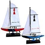 Conjunto Veleiros American Cup Pequeno 2 Peças em Madeira - 23x4x15 cm