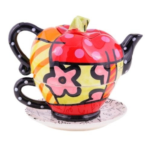 Conjunto Xícara e Bule Apple - Romero Britto - em Cerâmica - 20x17 cm