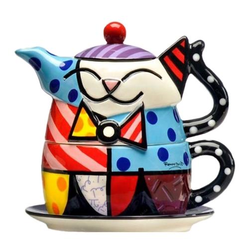 Conjunto Xícara e Bule Cat - Romero Britto - em Cerâmica - 18x15 cm