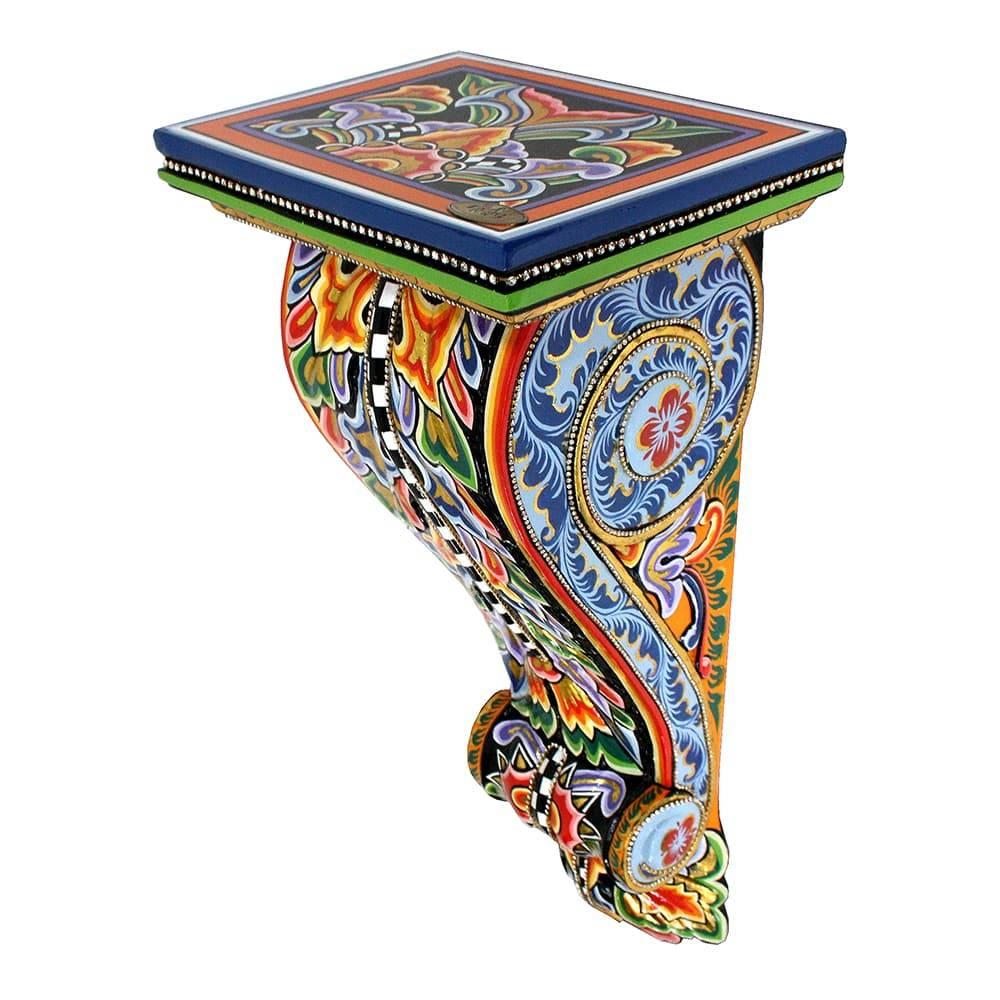 Console de Parede Versailles Multicolorido em Madeira - 54x25 cm