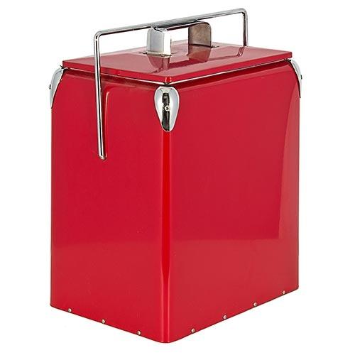 Cooler Alto Vermelho com Alça Fullway em Metal - 43x32 cm