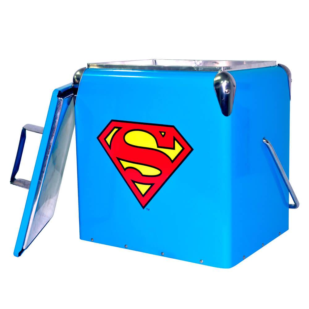 Cooler DC Comics Logo Superman Azul em Metal - Urban - 36x29.5 cm