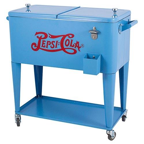 Cooler Pepsi-Cola Azul Móvel com Rodas Fullway em Metal - 90x77 cm