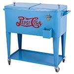 Cooler Pepsi-Cola Azul Móvel com Rodas Fullway em Metal