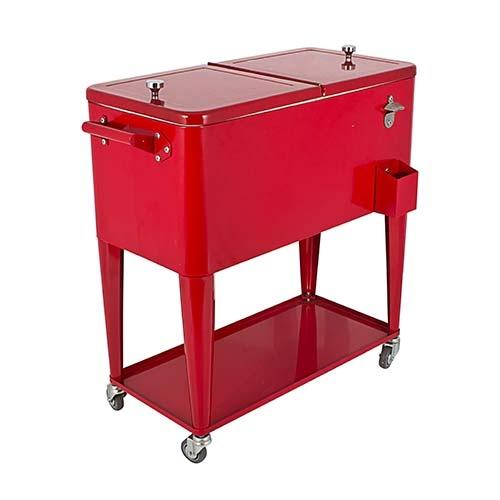 Cooler Vermelho de Ferro com Rodízios Fullway - 90x77 cm