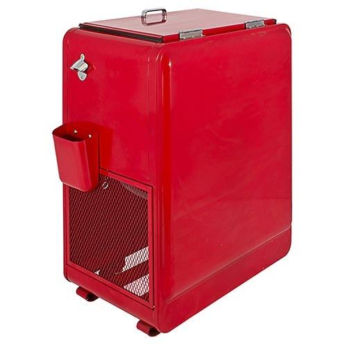 Cooler Vermelho Fixo com Tampa Fullway em Metal - 90x66 cm