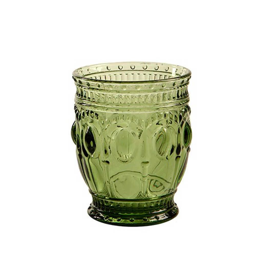 Copo Alto Jewelry Verde com Alto Relevo - 200 ml em Vidro - 13x8 cm