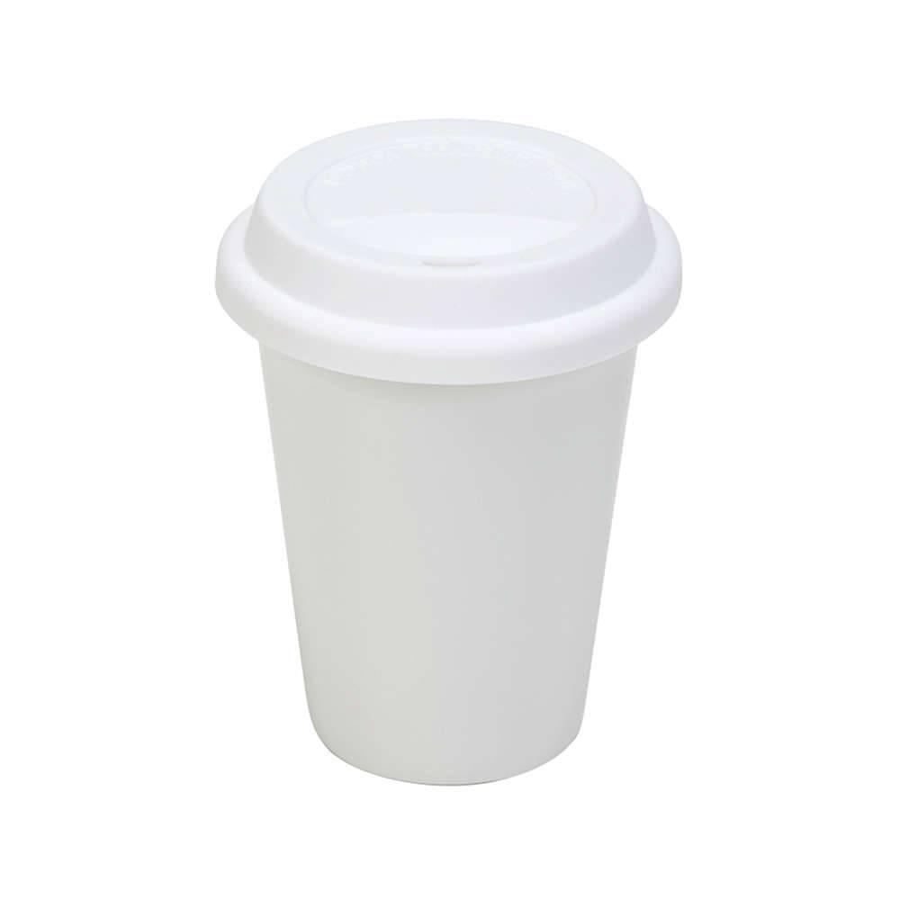 Copo para Café e Chá Branco em Cerâmica com Tampa em Silicone - 300 ml - Urban - 13,5x10 cm