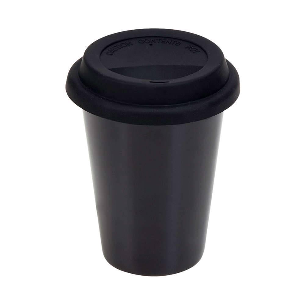 Copo para Café e Chá Preto em Cerâmica com Tampa em Silicone - 300 ml - Urban - 13,5x10 cm