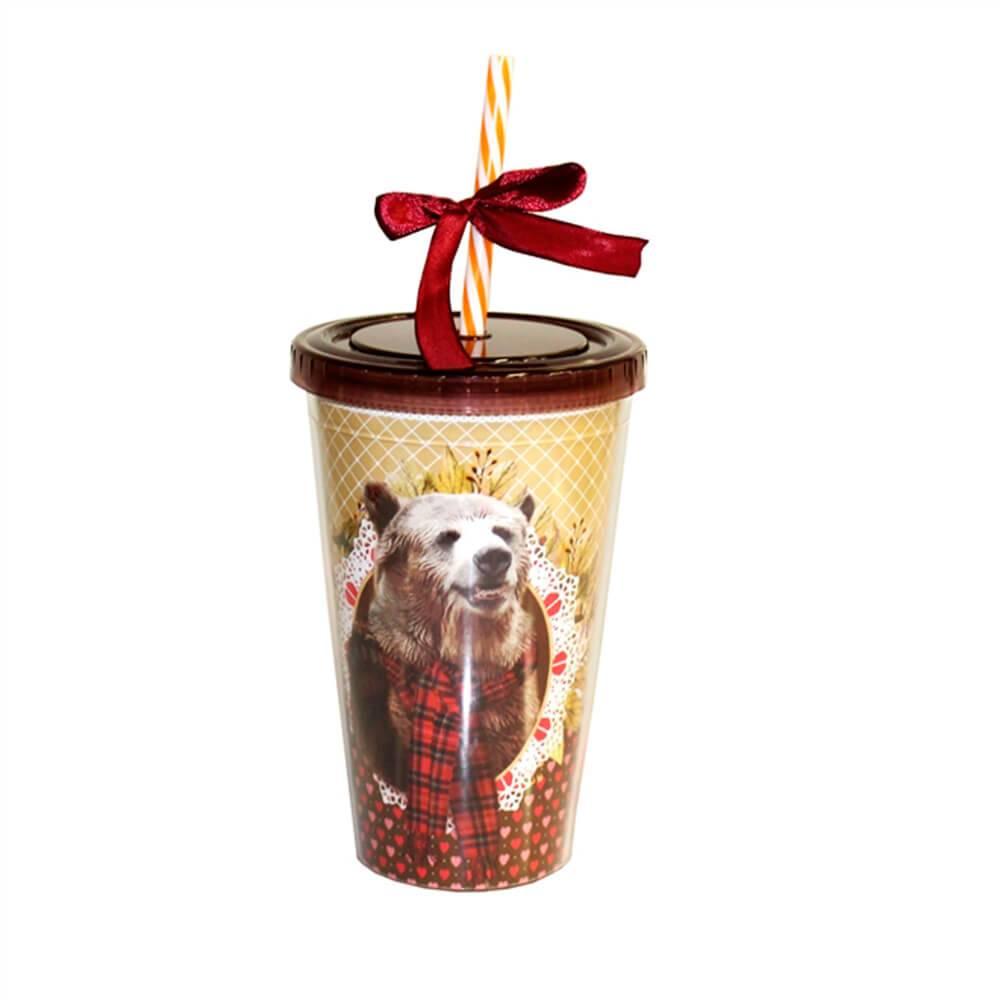 Copo Canudo Pet Pop Urso Multicolorido em Polipropileno - 16x10 cm