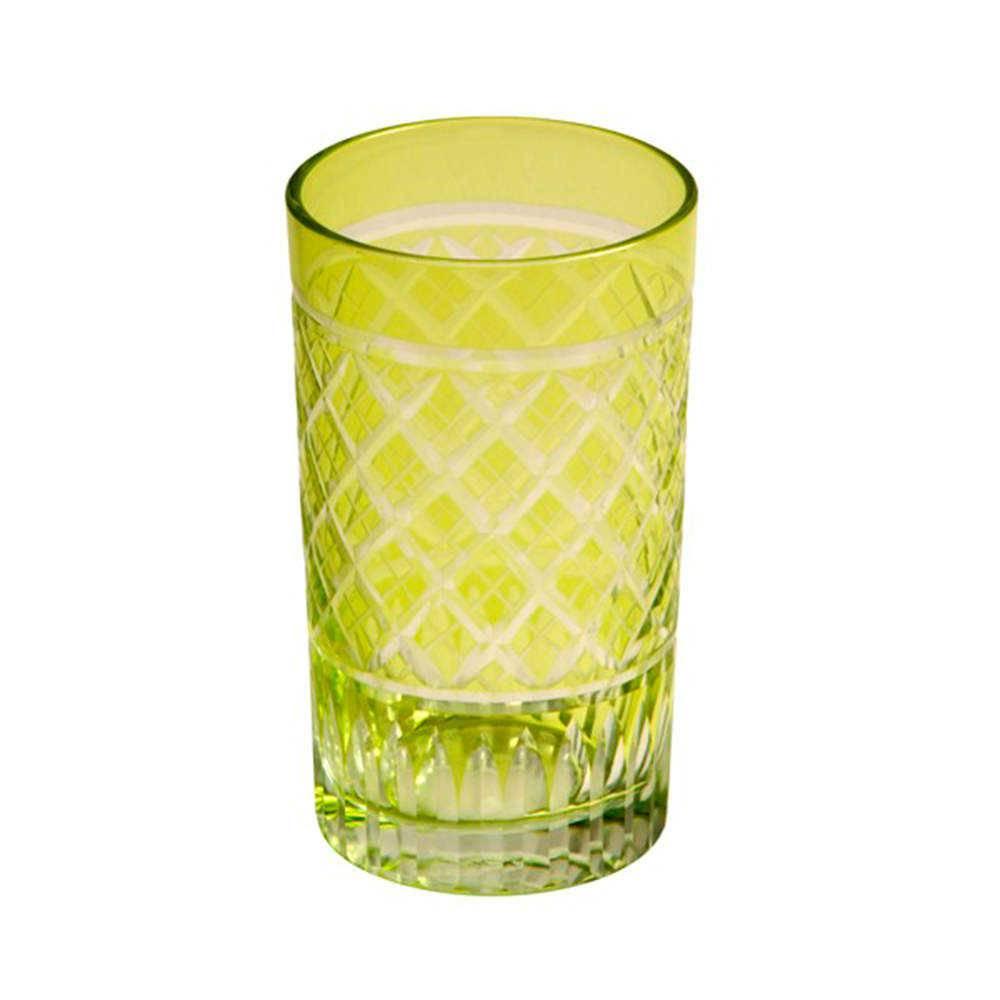 Copo Citron Retangular Verde Limão em Vidro Lapidado - 16x11 cm