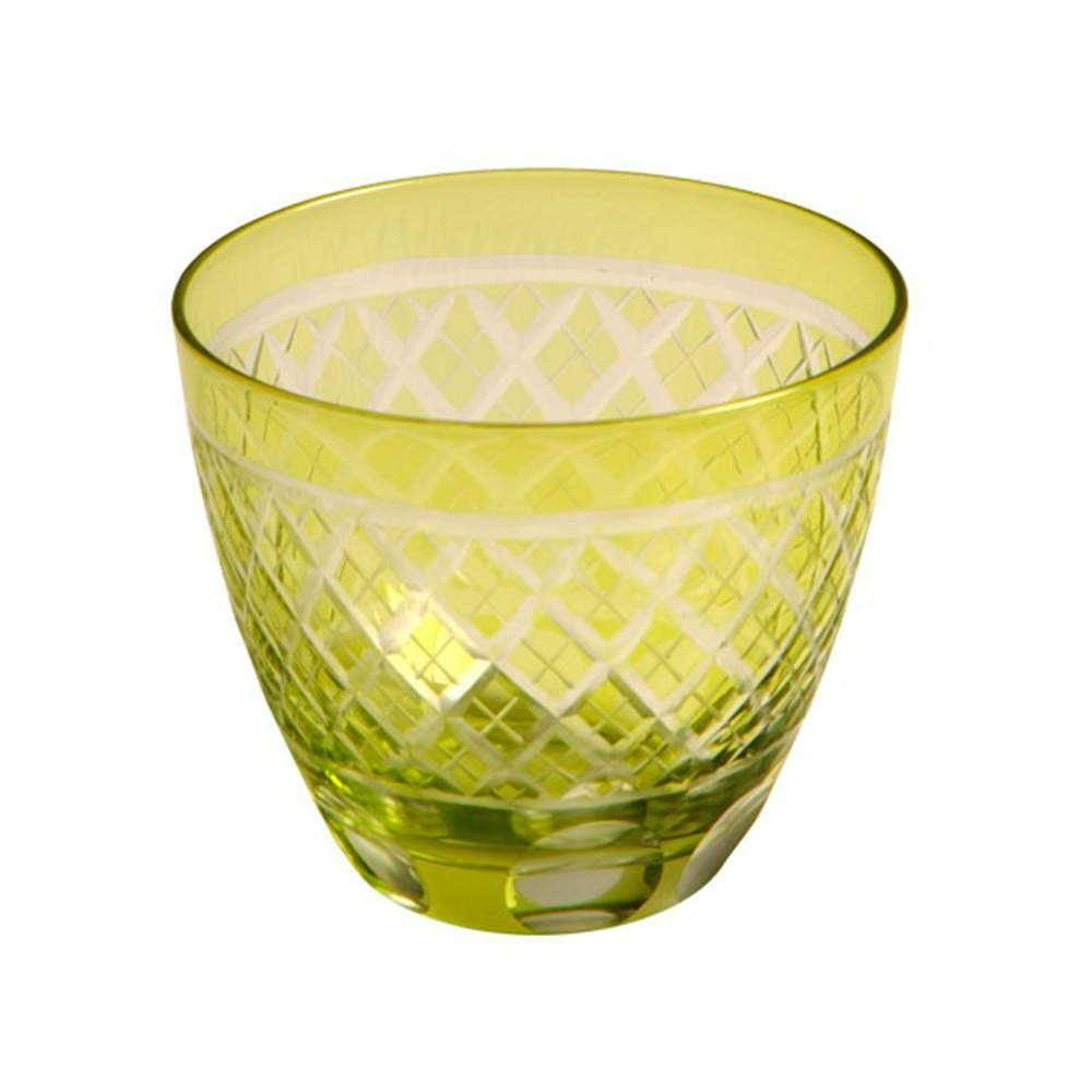 Copo Citron Verde Limão em Vidro Lapidado - 16x11 cm