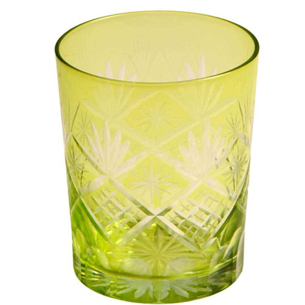 Copo Citruele Verde Limão em Vidro Lapidado - 16x11 cm