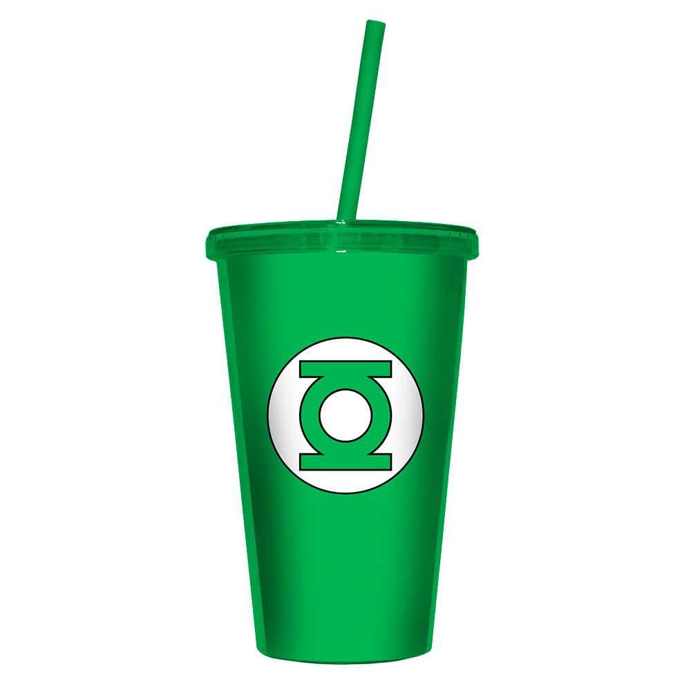 Copo DC Comics Green Light - 500 ml - com Tampa e Canudo Verde em Polipropileno - Urban - 24,5x11 cm