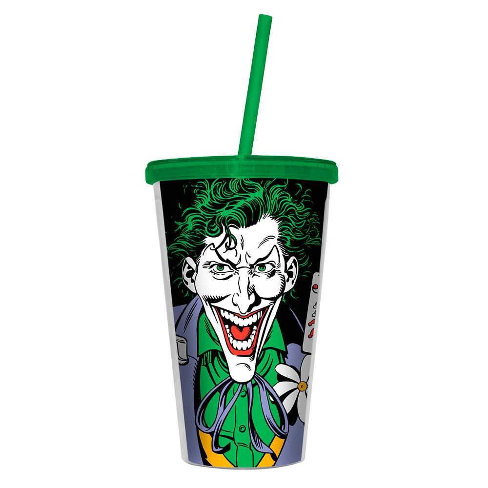 Copo DC Comics Joker com Baralho - 500 ml - com Tampa e Canudo em Polipropileno - Urban - 24,5x11 cm