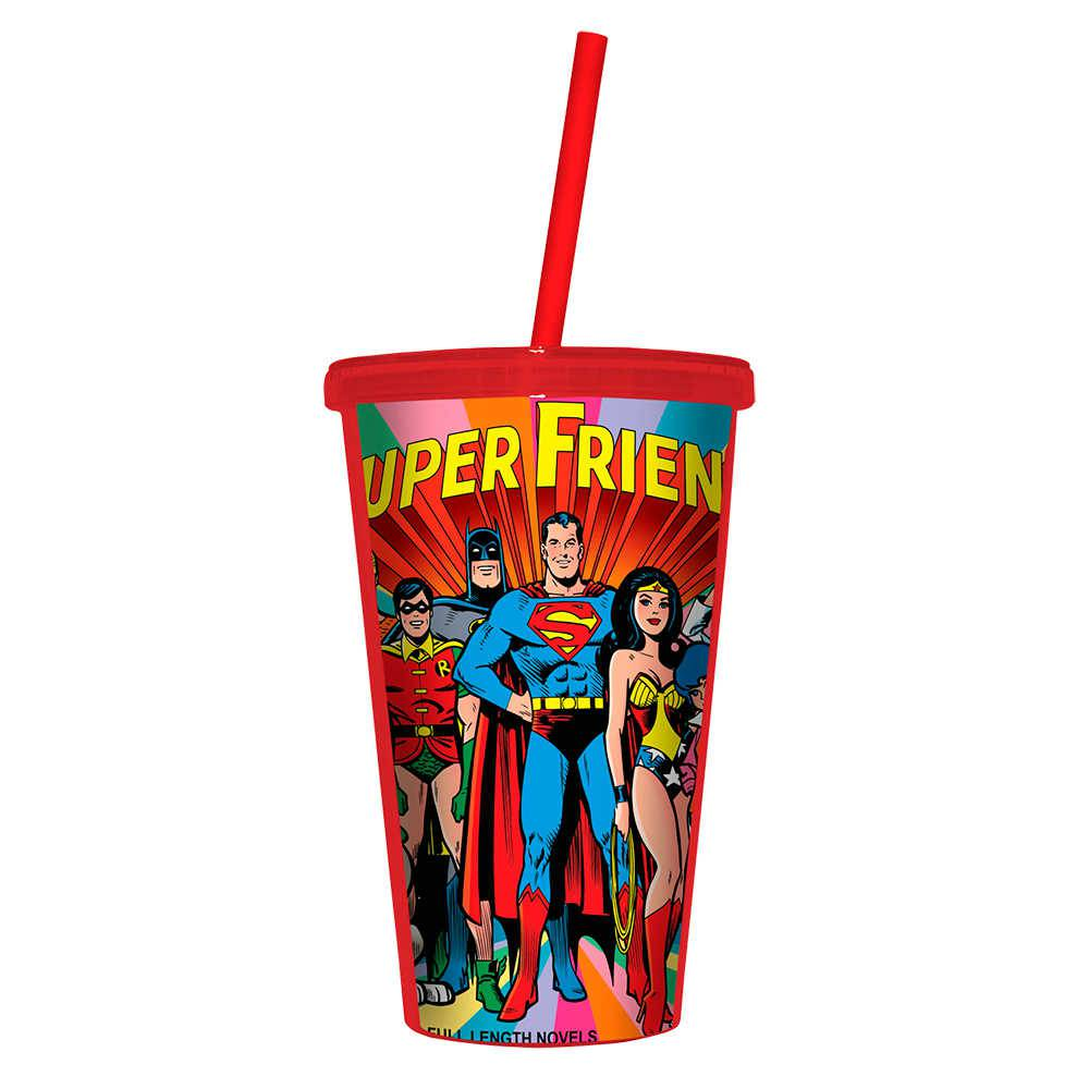 Copo DC Comics Super Friends Colorido - 500 ml - com Tampa e Canudo em Polipropileno - Urban - 24,5x11 cm