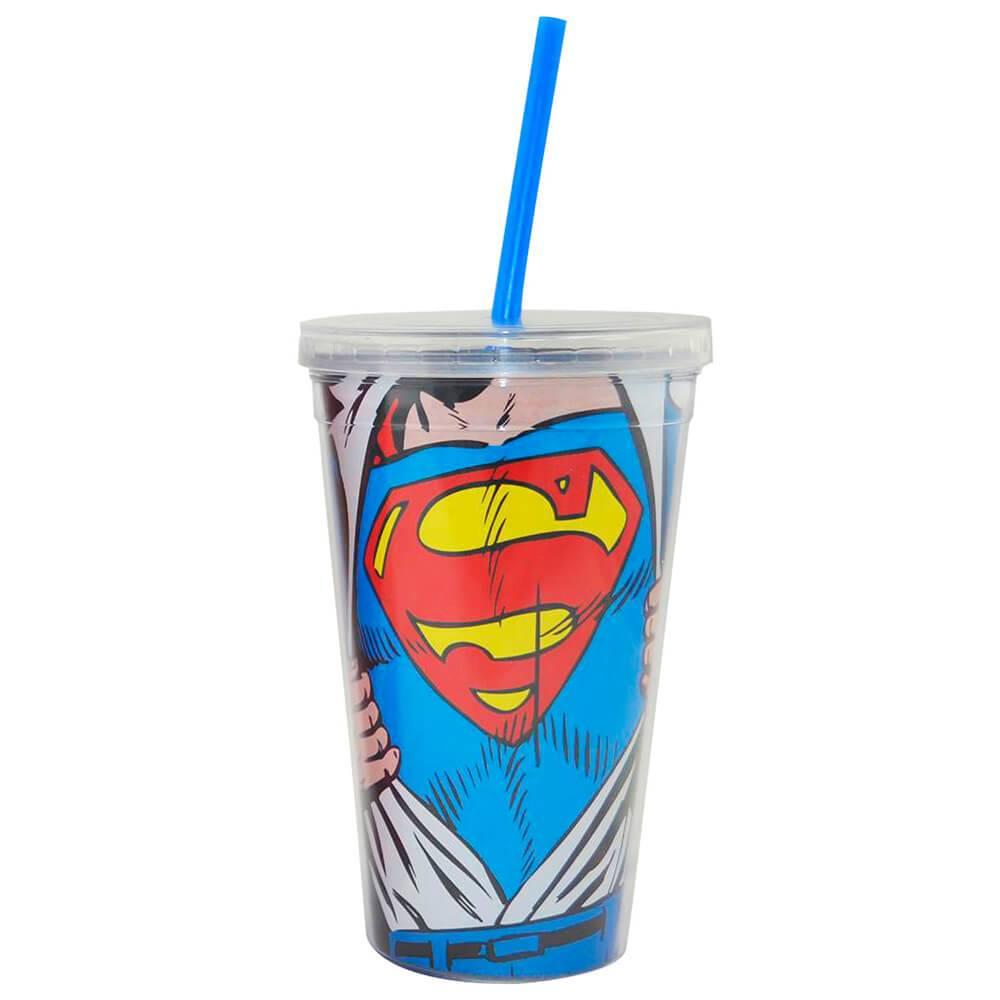 Copo DC Comics Superman Opening Shirt 300 ml com Tampa e Canudo em Polipropileno - Urban - 24,5x11 cm