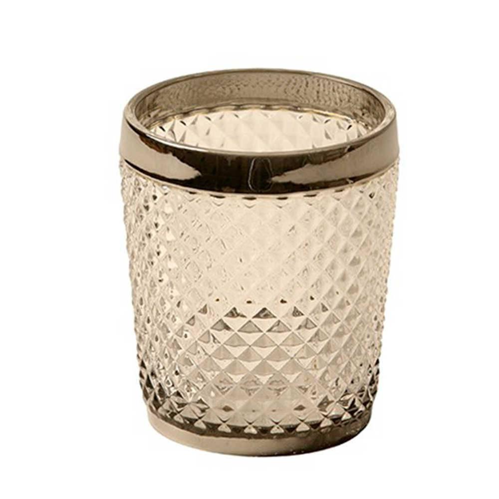 Copo Diamond Translúcido e Prata em Vidro Lapidado - 11x10 cm