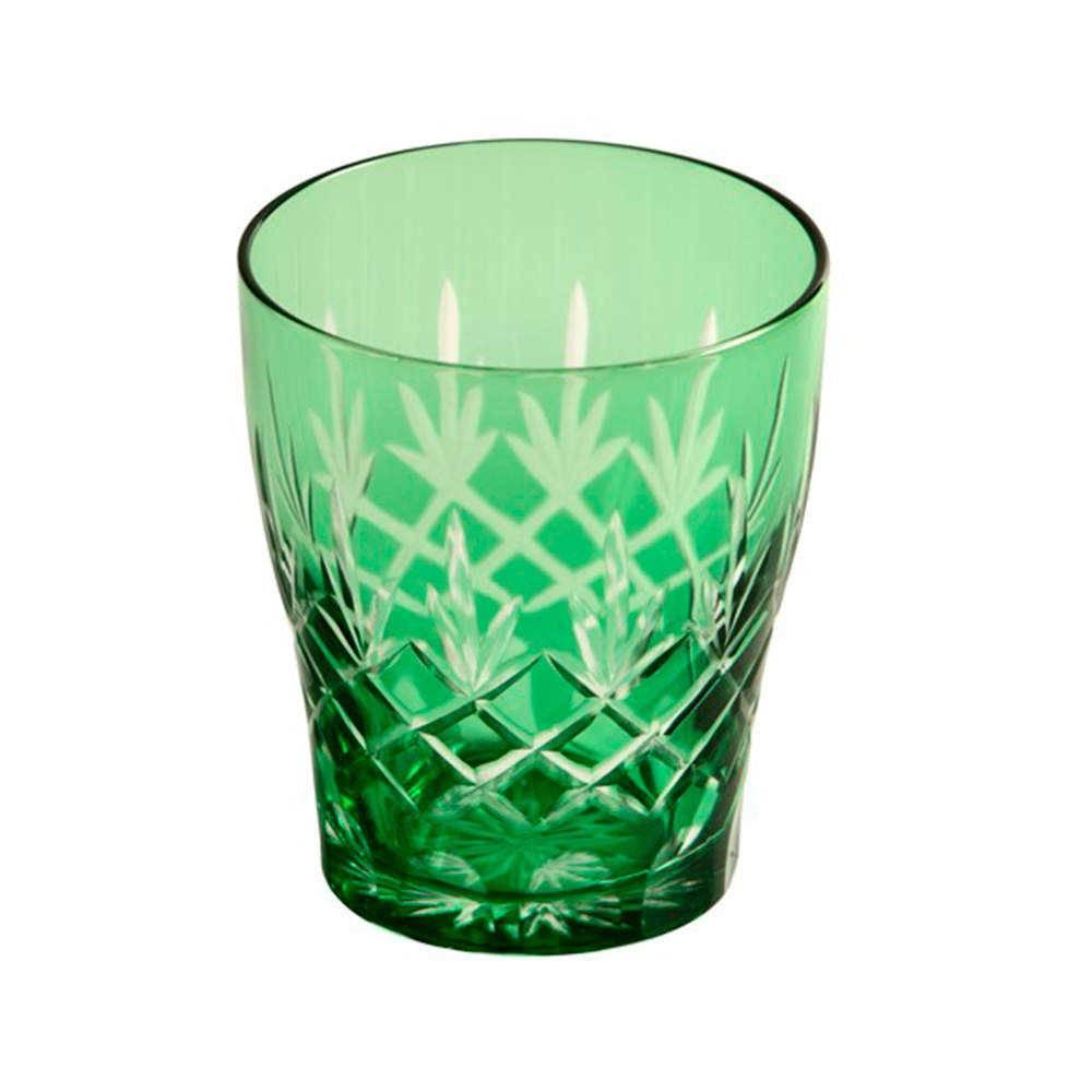 Copo Esmeralda Verde em Vidro Lapidado - 16x11 cm