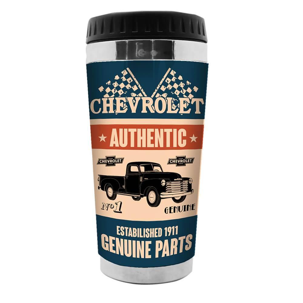 Copo GM Genuine Parts Azul e Bege 473 ml em Polipropileno - Urban - 18x8,3 cm