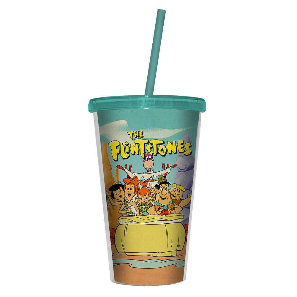 Copo Hanna Barbera Flintstones Family In a Car - 500 ml - com Tampa e Canudo em Polipropileno - Urban - 24,5x11 cm