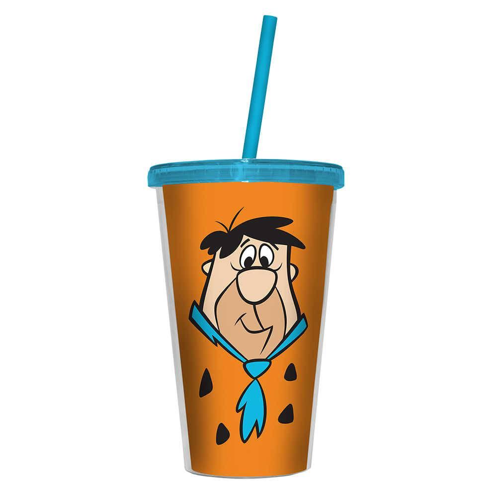 Copo Hanna Barbera Flintstones Fred Laranja - 500 ml - com Tampa e Canudo em Polipropileno - Urban - 24,5x11 cm