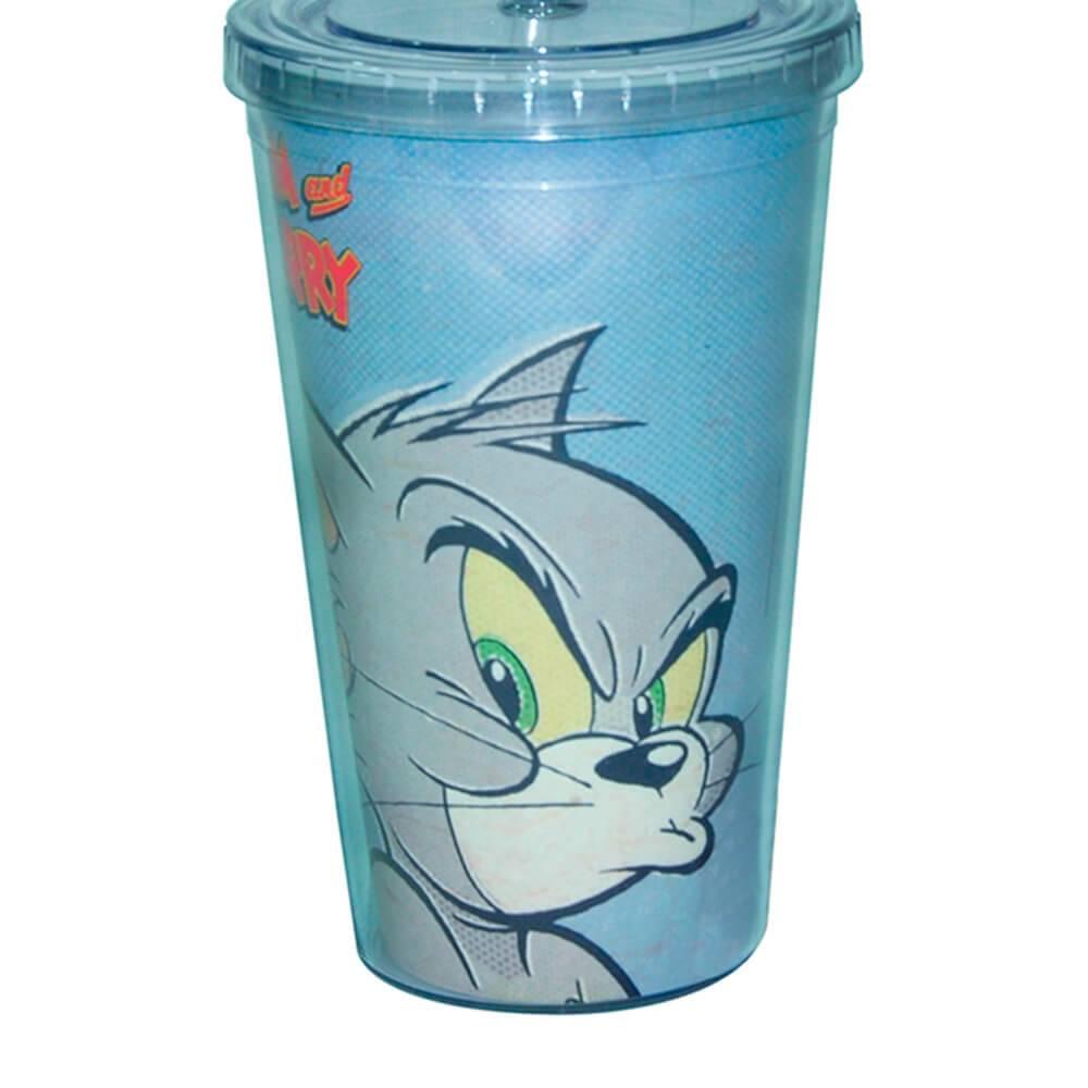 Copo Hanna Barbera Tom and Jerry Mad Face Cat 300 ml com Tampa e Canudo em Polipropileno - Urban - 24,5x11 cm