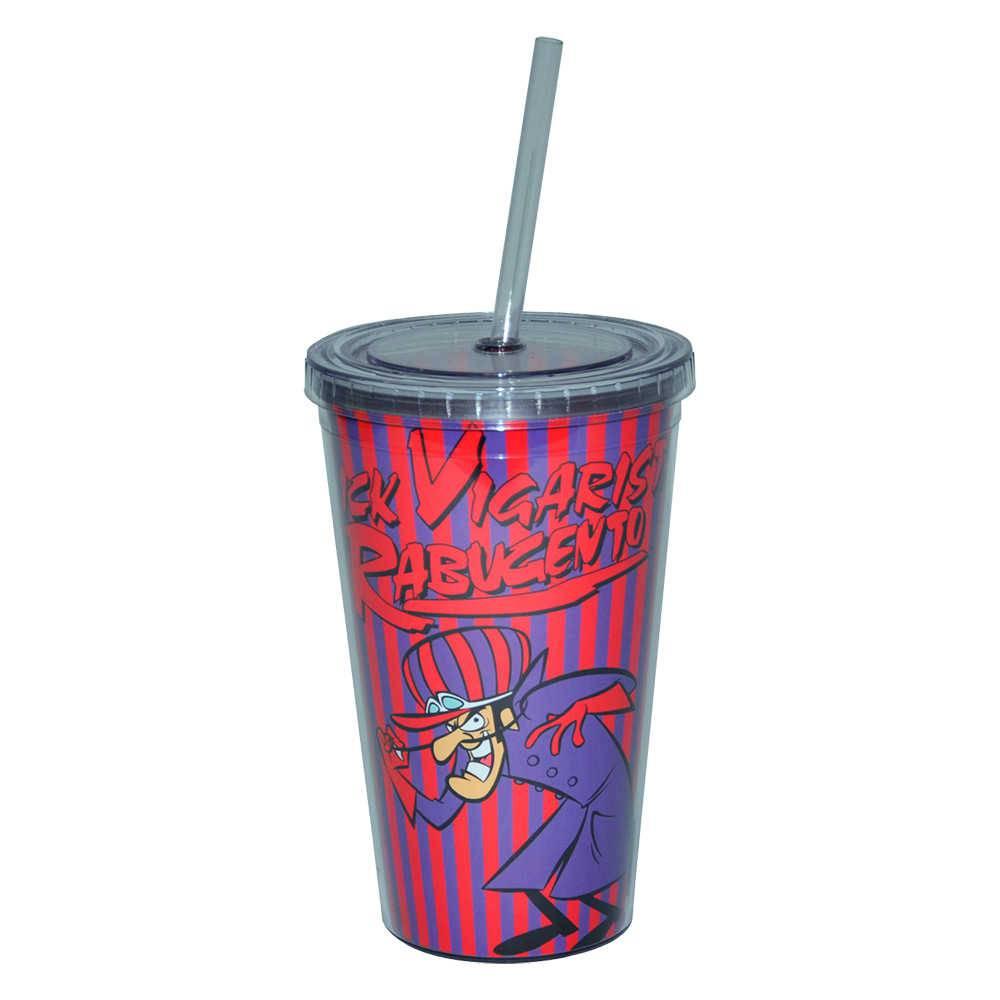 Copo Hanna Barbera Wacky Race Dick - 500 ml - com Tampa e Canudo em Polipropileno - Urban - 24,5x11 cm