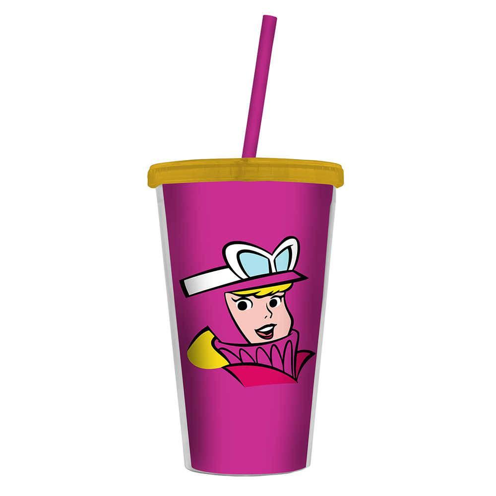 Copo Hanna Barbera Wacky Race Penelope Rosa - 500 ml - com Tampa e Canudo em Polipropileno - Urban - 24,5x11 cm