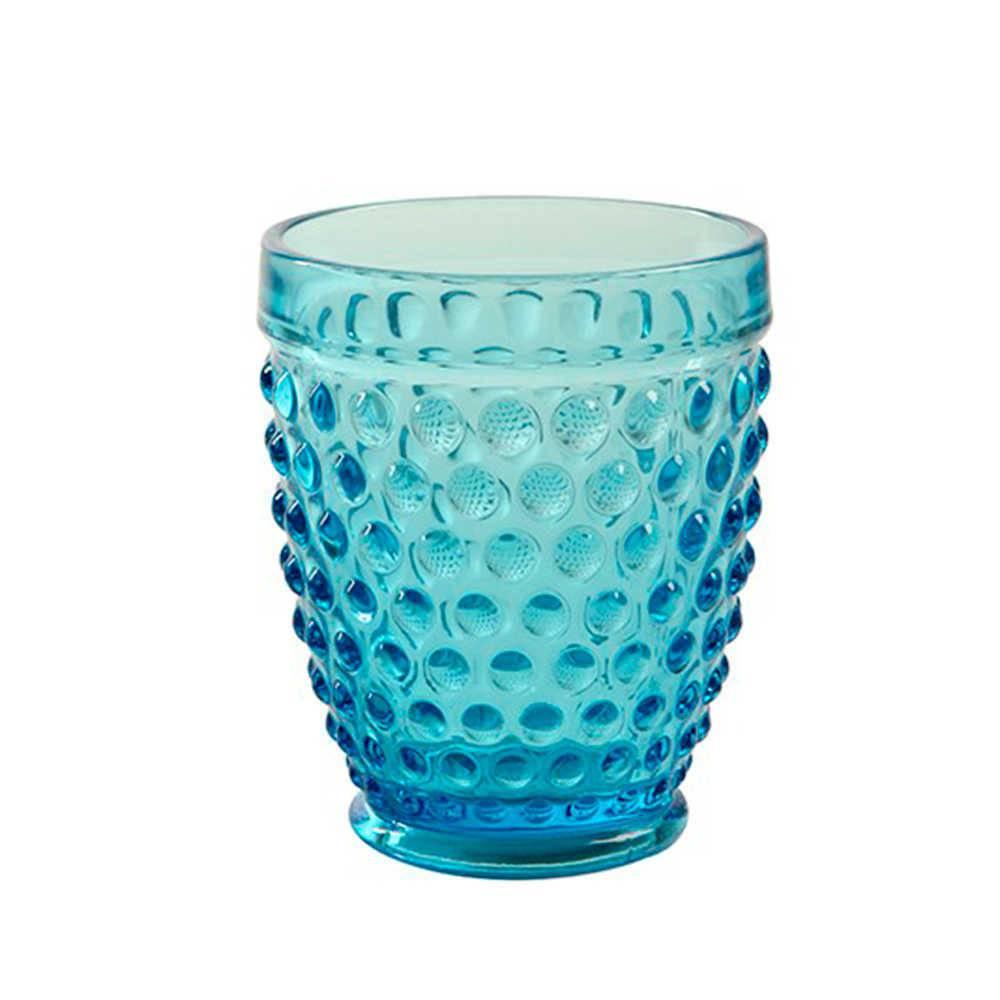 Copo Hobnail Azul com Alto Relevo - 250 ml em Vidro Lapidado - 11x9 cm