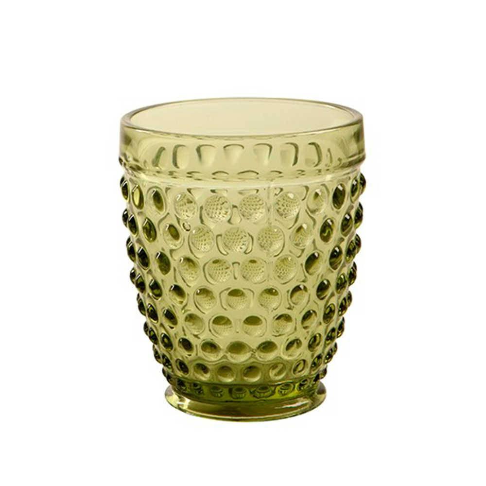 Copo Hobnail Verde com Alto Relevo - 350 ml em Vidro - 11x9 cm