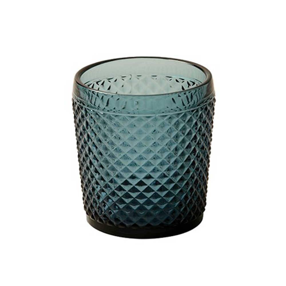 Copo Hune Degradê Azul com Alto Relevo em Vidro Lapidado - 11x10 cm