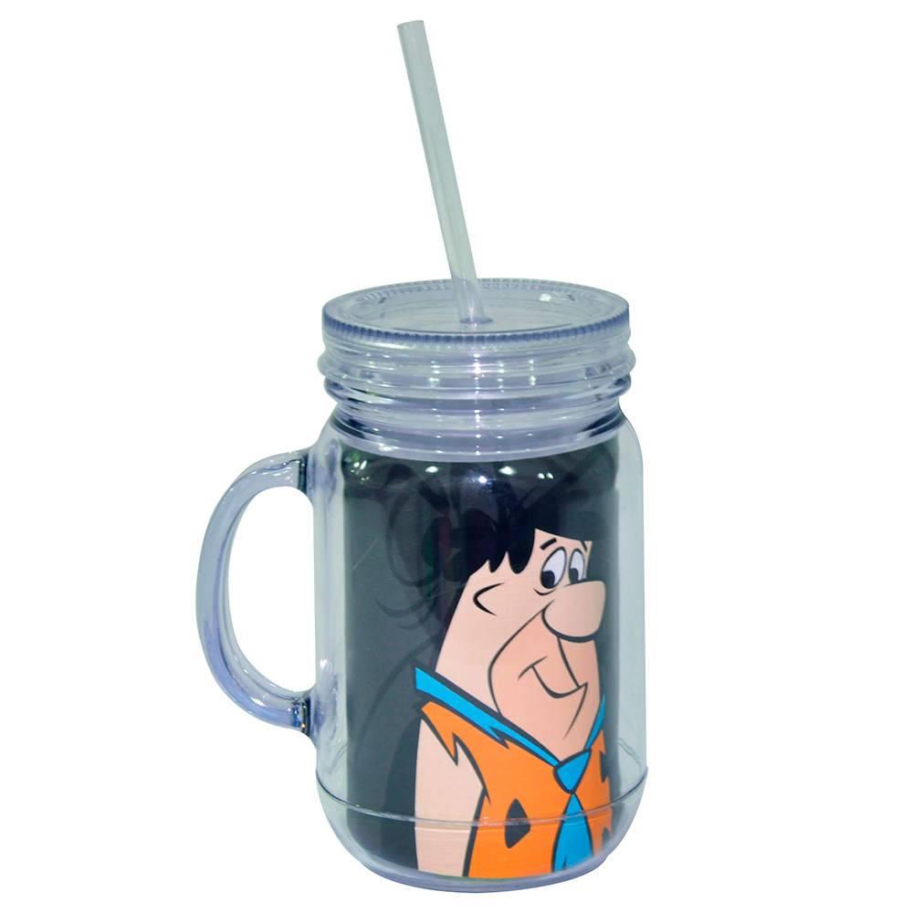 Copo Jarra Hanna Barbera Fred Flintstones Preto em Acrílico - Urban - 13x10,5 cm