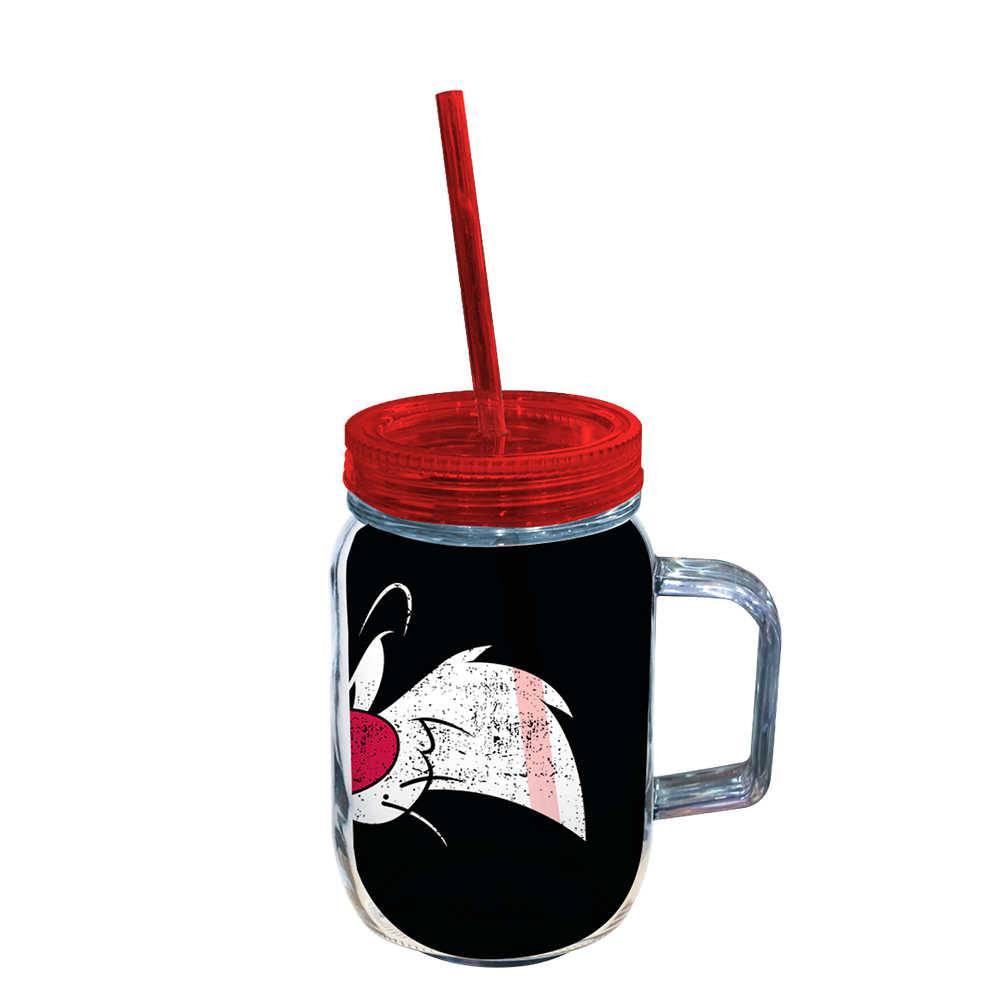 Copo Jarra Looney Tunes Sylvester Big Face - 550 ml - Preto em Acrílico - Urban - 24,5x10,5 cm