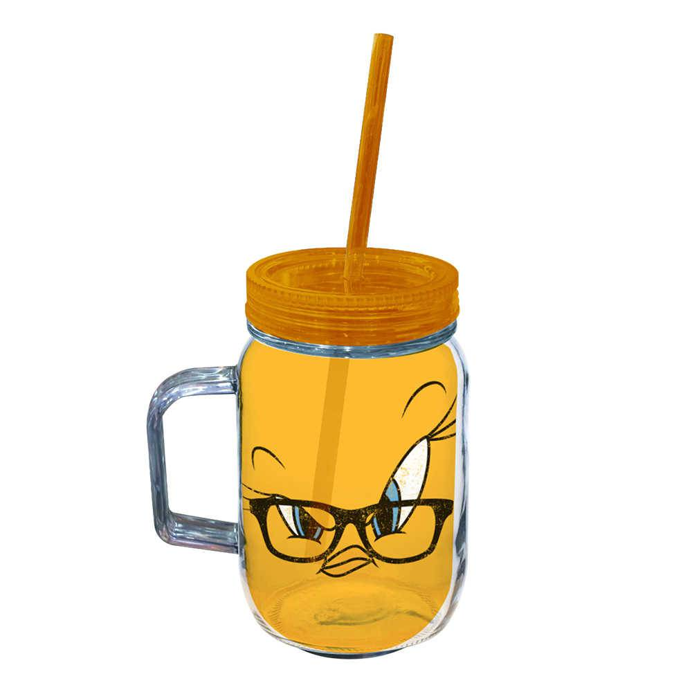 Copo Jarra Looney Tunes Tweety Big Face - 550 ml - Amarelo em Acrílico - Urban - 24,5x10,5 cm