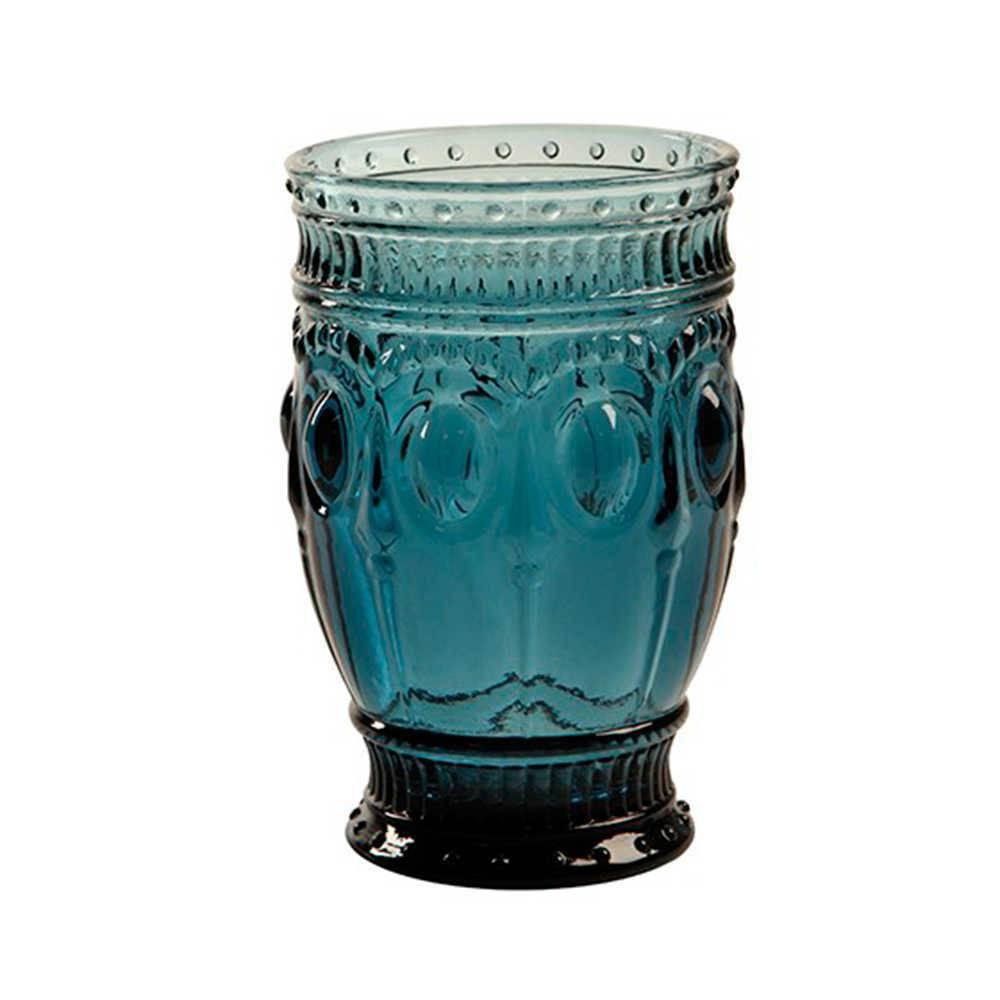 Copo Jewelry Azul com Alto Relevo - 300 ml em Vidro Lapidado - 13x8 cm