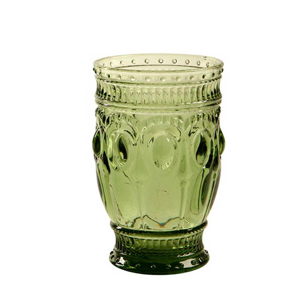Copo Jewelry Verde com Alto Relevo - 300 ml em Vidro - 16x9 cm