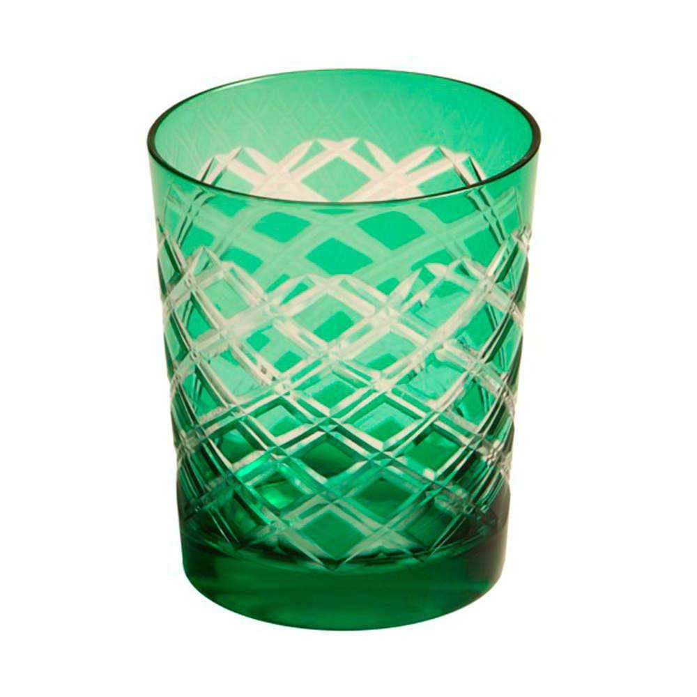 Copo Juhe Verde Escuro com Alto Relevo em Vidro Lapidado - 16x11 cm